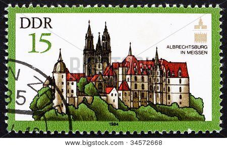 Postage stamp GDR 1984 Albrecht Castle, Meissen, Germany