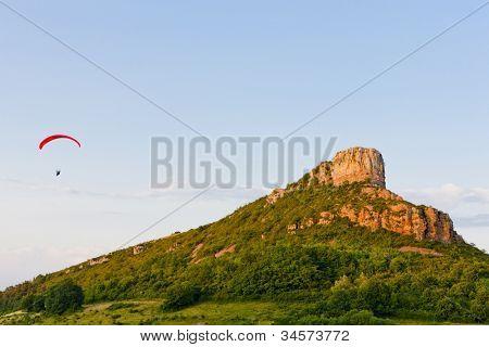 paragliding at Solutre Rock, Burgundy, France