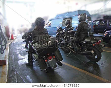 Motorcycles Waiting To Debark