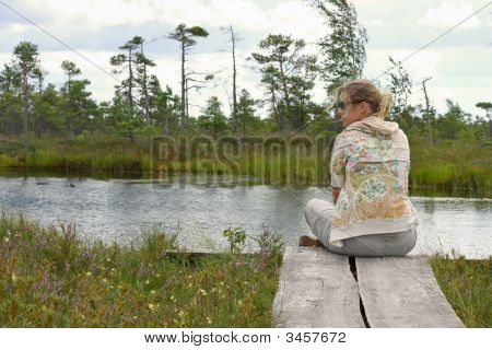 Woman Meditate In Nature