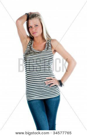 Beautiful blond woman isolated on white