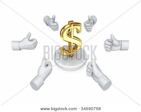 Hands with thumbs up around dollar symbol.