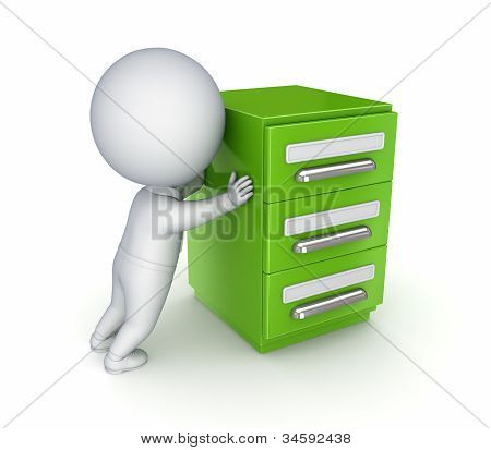 3d small person and green bookcase.