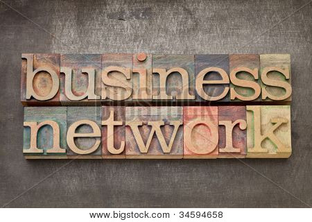 business network - text in vintage letterpress wood type on a grunge metal background