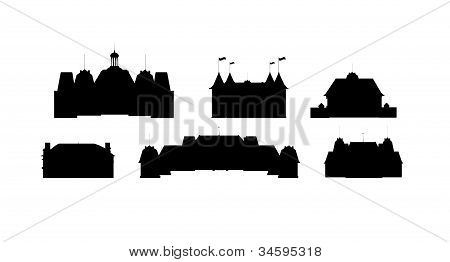 Silhouettes of castles vector