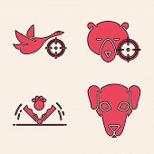 Set Hunting Dog, Hunt On Duck With Crosshairs, Hunt On Bear With Crosshairs And Trap Hunting Icon. V poster