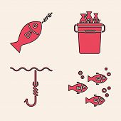 Set Fish, Fish On Hook, Fishing Bucket With Fishes And Fishing Hook Under Water Icon. Vector poster