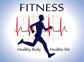 image of ekg  - vector illustration of a fitness icon card - JPG