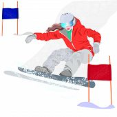 Extreme Winter Sport.mountain Skiing.extreme Snowboard Vector Illustration. poster
