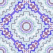 Blue Geometric Watercolor. Cute Seamless Pattern. Hand Drawn Stripes. Brush Texture. Stunning Chevro poster