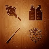 Set Hunt On Deer With Crosshairs, Hipster Arrow Tip, Hunting Gun And Hunting Jacket On Wooden Backgr poster