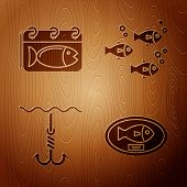 Set Fish Trophy Hanging On The Board, Calendar With A Fish, Fishing Hook Under Water And Fish On Woo poster