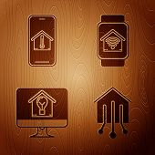 Set Smart Home, Mobile Phone With House Temperature, Computer Monitor With Smart House And Light Bul poster