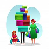 Happy Married Couple With Child After Shopping. Cartoon Funny Family Characters. Father Carrying Big poster