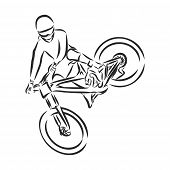 Hand Drawn Bicyclist Rider Man, Isolated On Background, Vector Illustration, Sketch poster