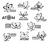 Atom Icons, Molecular Technology And Atomic Physics Signs. Vector Chemical Laboratory, Atom Science  poster