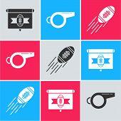 Set American Football On Tv Program, Whistle And American Football Ball Icon. Vector poster