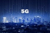5g Technology. Modern City And Communication Network, Smart City. Internet Of Things. Smart Grid. Co poster