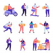 Set Of Flat Postal Delivery Service Characters. Cartoon People Deliver Parcels, Postcards, Mail Arou poster