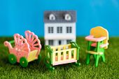 Childhood In The Courtyard Of His Own House. Concept, Childhood, Crib, Highchair, Baby Carriage Acce poster