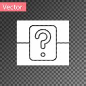 White Mystery Box Or Random Loot Box For Games Icon Isolated On Transparent Background. Question Box poster
