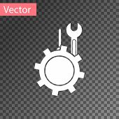 White Wrench And Screwdriver In Gear Icon Isolated On Transparent Background. Adjusting, Service, Se poster