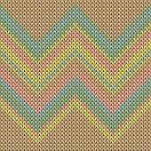 Clothing Zig Zal Lines Knit Texture Geometric Seamless Pattern. Jacquard Knit Effect Ornament. Norwe poster