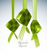 Vector 3D Muslim Ketupat Translation: Ramadan Kareen - May Generosity Bless You During The Holy Mont
