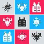 Set Hunt On Bear With Crosshairs, Hunt On Moose With Crosshairs And Hunting Jacket Icon. Vector poster