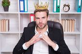 I Am Big Boss Here. Big Boss In Office. Big Boss Wear Crown On Head. Director Or Big Boss. Confident poster