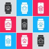 Set Smart Watch With Smart House And Alarm, Smart Watch With House Under Protection And Mobile Phone poster