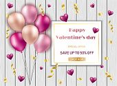 Valentines Day Background With Heart Shape Golden Metallic Balloons. Social Media Special Sale Promo poster
