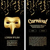 Carnival Party Banners Set With Carnival Golden Mask, Serpentine And Lettering. poster