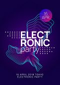 Sound Flyer. Dynamic Gradient Shape And Line. Curvy Show Brochure Layout. Neon Sound Flyer. Electro  poster