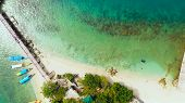 Aerial View: Tropical Island With A Beautiful Beach And Vacationing Tourists, Tourist Boats. Quezon  poster