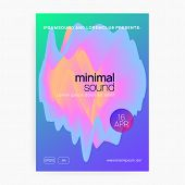 Music Fest. Electronic Sound. Night Dance Lifestyle Holiday. Minimal Indie Show Cover Design. Fluid  poster