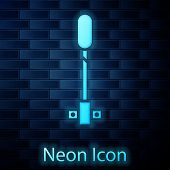 Glowing Neon Torch Flame Icon Isolated On Brick Wall Background. Symbol Fire Hot, Flame Power, Flami poster