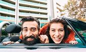 Fashion Hipster Couple Taking Funny Self Portrait At Road Trip - Happy Boyfriend And Girlfriend Havi poster
