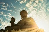 Giant Buddha Statue Or Enormous Tian Tan Buddha At Po Lin Monastery In Hong Kong poster