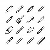 Tools For Drawing, Calligraphy, Lettering, Sketching Flat Line Icon Set. Paintbrush, Pen, Pencil, Fe poster