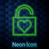 Glowing Neon Line Lock And Heart Icon Isolated On Brick Wall Background. Locked Heart. Love Symbol A poster