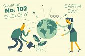 Ecological Illustration. Earth Day. Man And Woman Water, Care, Take Care Of Planet. Keeping Environm poster