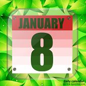 January 8 Icon. Calendar Date For Planning Important Day With Green Leaves. January 8th. Banner For  poster