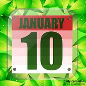 January 10 Icon. Calendar Date For Planning Important Day With Green Leaves. Tenth Of January. Banne poster