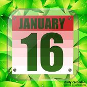 January 16 Icon. For Planning Important Day With Green Leaves. Banner For Holidays And Special Days. poster