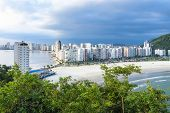Coastal City With Many Tall Buildings Near To The Beach. Aerial View Of Sao Vicente City, Sp Brazil. poster