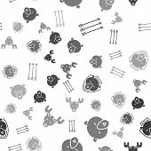 Set Hipster Arrows, Bear Head, Bear Head On Shield And Moose Head With Horns On Seamless Pattern. Ve poster