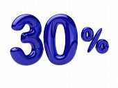 30 Percent Discount. Blue Glossy Balloon In The Shape Of A Number. 3d Rendering poster