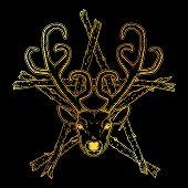 Beautiful Hand Drawn Tribal Style Deer Head Over The Stick Pentagram. Magic Vintage Vector Illustrat poster