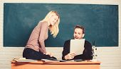 Students In Classroom Chalkboard Background. Education Concept. College Entrance Exam. Prepare Final poster